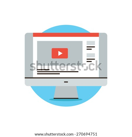 Thin line icon with flat design element of video sharing website, popular media content, movie player, web information, computer monitor screen. Modern style logo vector illustration concept. - stock vector