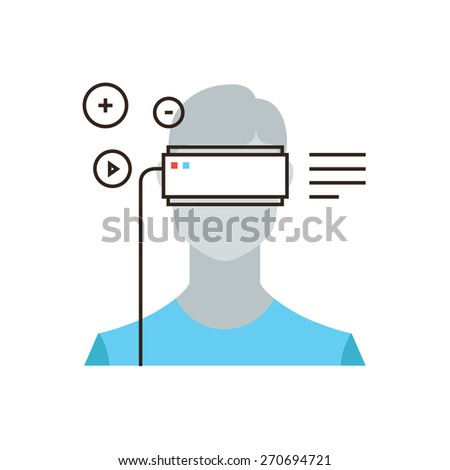 Thin line icon with flat design element of virtual reality headset device, person wearing head mounted display, augmented reality video game. Modern style logo vector illustration concept. - stock vector