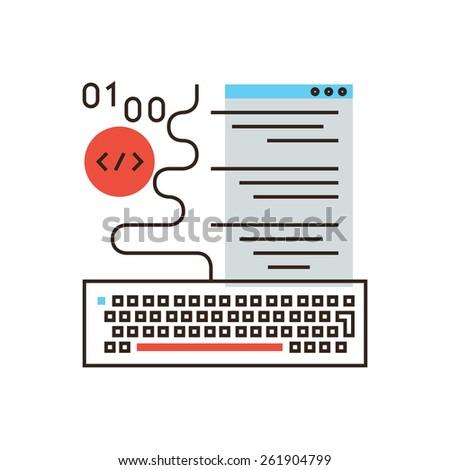 Thin line icon with flat design element of web programming, software development, program code, decoding application, website creation, machine language. Modern style logo vector illustration concept. - stock vector