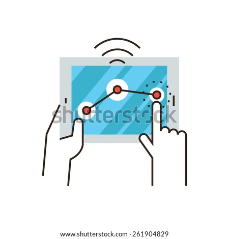 Thin line icon with flat design element of wifi connection, operating system, wireless control on digital tablet, internet connection, network signal. Modern style logo vector illustration concept. - stock vector