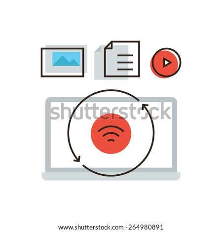 Thin line icon with flat design element of wireless connection, sharing media information, big data cloud, multimedia synchronization with user account. Modern style logo vector illustration concept. - stock vector