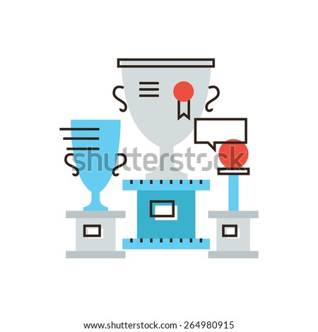 Thin line icon with flat design element of world cup, sports awards, champion of competition, collection rewards, goblet winner, gold cup. Modern style logo vector illustration concept. - stock vector