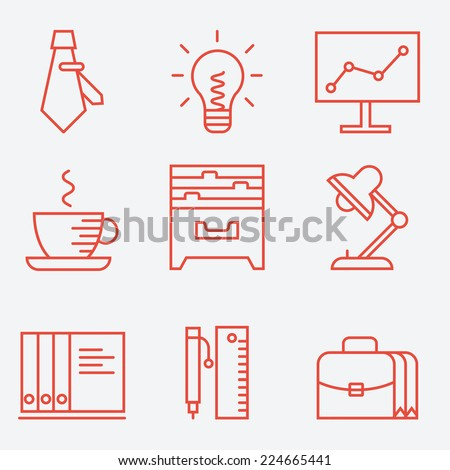 Thin line icons for business and office, modern flat design - stock vector