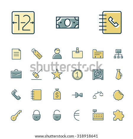 Thin line icons for business, finance and banking. Vector illustration. - stock vector
