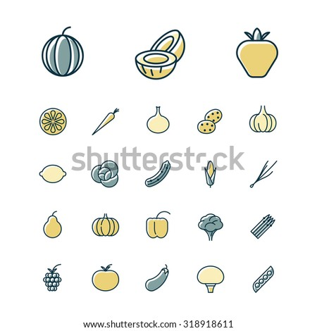 Thin line icons for fruits and vegetables. Vector illustration. - stock vector