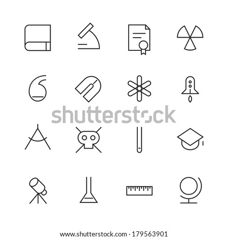 Thin Line Icons For Science and Education. Vector eps10. - stock vector