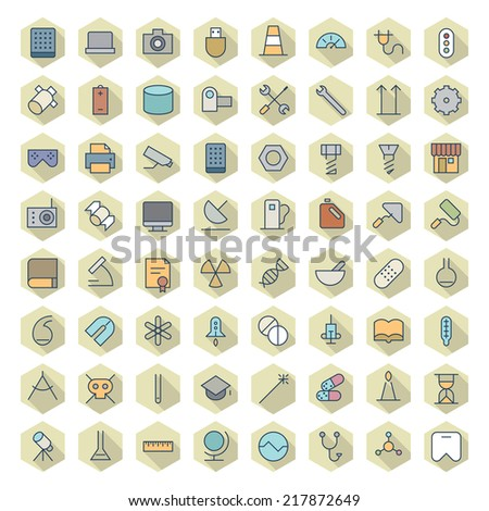 Thin Line Icons For Technology, Industry and Science. Vector eps10. - stock vector
