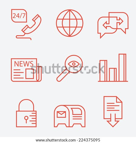 Thin line icons for web sites - modern flat design - stock vector
