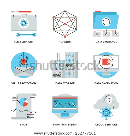 Thin line icons of big data storage protection, cloud computing information service, technical support, network connection. Modern flat line design element vector collection logo illustration concept. - stock vector