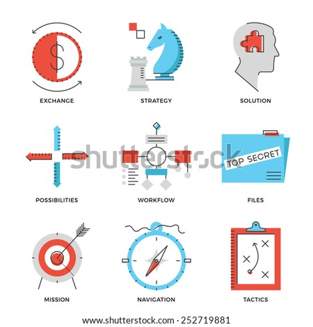 Thin line icons of business effective solution, success tactics position and strategy decision, long-term goal achievement. Modern flat line design element vector collection logo illustration concept. - stock vector