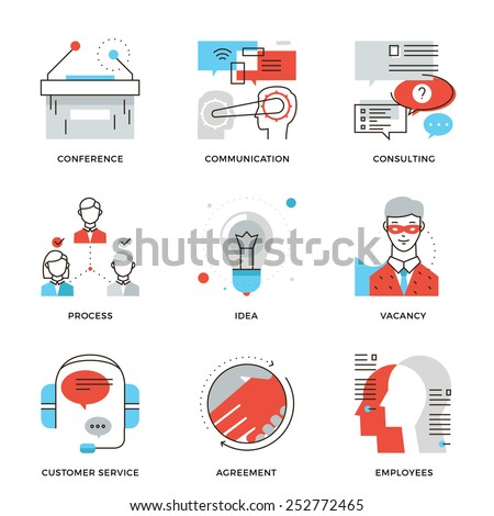 Thin line icons of business meeting, professional occupation, company consulting, people communication and deal agreement. Modern flat line design element vector collection logo illustration concept. - stock vector