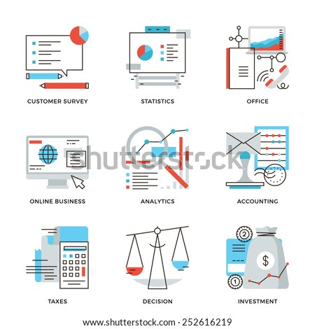 Thin line icons of business planning process, company accounting organization, customer survey, corporate tax optimization. Modern flat line design element vector collection logo illustration concept. - stock vector
