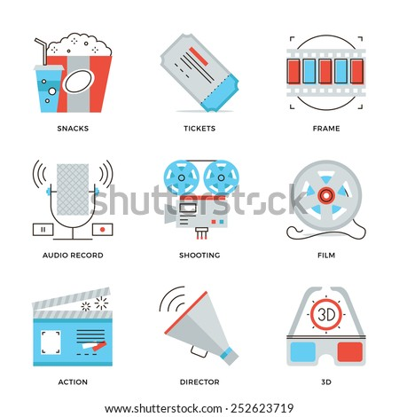 Thin line icons of cinema shooting, movie making, film production, leisure entertainment, 3D glasses television watching. Modern flat line design element vector collection logo illustration concept. - stock vector