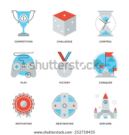 Thin line icons of competitive advantage solution, business gamification strategy, leadership move, winning strategy ideas. Modern flat line design element vector collection logo illustration concept. - stock vector