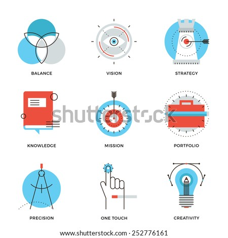 Thin line icons of creative design process, agency studio development, business vision, marketing strategy, smart solution. Modern flat line design element vector collection logo illustration concept. - stock vector