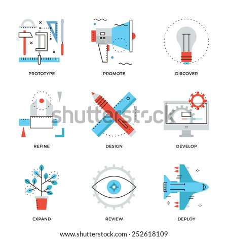 Thin line icons of graphic design production, web product development service, prototype engineering, marketing promotion. Modern flat line design element vector collection logo illustration concept. - stock vector
