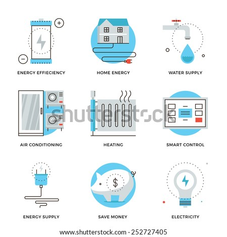 Thin line icons of internet of smart house technology system, wireless home control panel, energy savings and efficiency. Modern flat line design element vector collection logo illustration concept. - stock vector