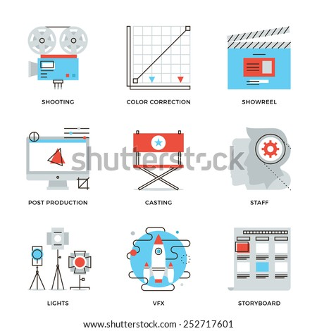 Thin line icons of video production process, professional movie postproduction, actors casting, storyboard writing. Modern flat line design element vector collection logo illustration concept. - stock vector
