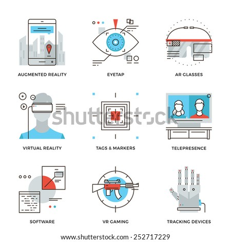 Thin line icons of virtual reality innovation technologies, AR glasses, head-mounted display, VR gaming and tracking device. Modern flat line design element vector collection logo illustration concept - stock vector