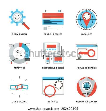 Thin line icons of website search engine optimization, seo analytics stats, network security, webpage traffic development. Modern flat line design element vector collection logo illustration concept. - stock vector