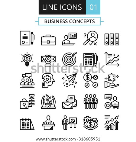 Thin line icons set. Flat design concept for business, digital marketing, team management, business presentation, corporate strategy, progress. Vector icons set, outline pictograms collection. Set 1 - stock vector
