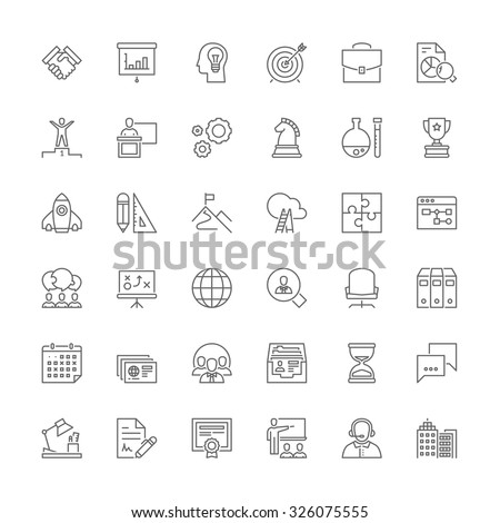 Thin line icons set. Flat symbols about business - stock vector