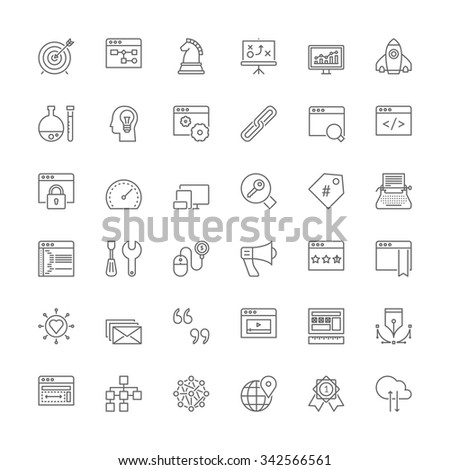 Thin line icons set. Flat symbols about SEO and web development - stock vector