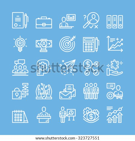 Thin line icons set for business, strategy, management, team work, marketing, finance, planning, etc. Modern abstract flat line concepts for web banners, web sites, printed materials, infographics - stock vector