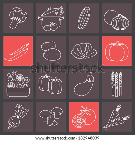 Thin line icons set for cooking, restaurant, menu, vegetables and vegetarian food.  - stock vector