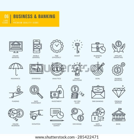 Thin line icons set. Icons for business, banking, e-banking.     - stock vector