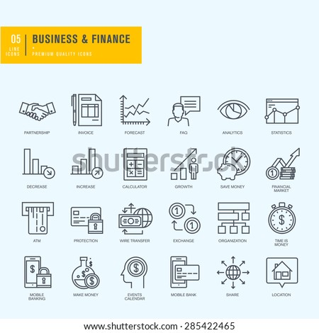 Thin line icons set. Icons for business, finance, m-banking.     - stock vector