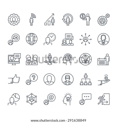 Thin line icons set. Icons for business, finance, social network, events, communication, technology.     - stock vector
