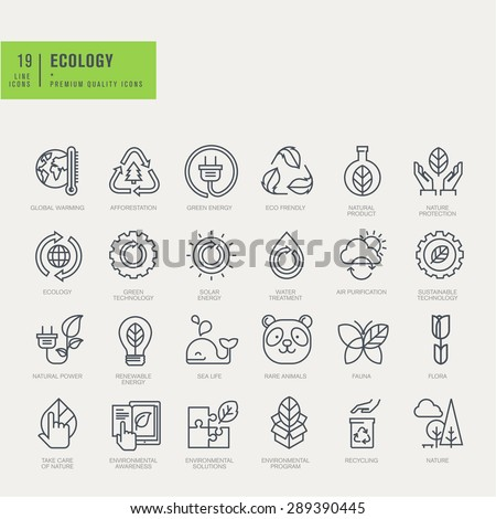 Thin line icons set. Icons for environmental, recycling, renewable energy, nature. - stock vector