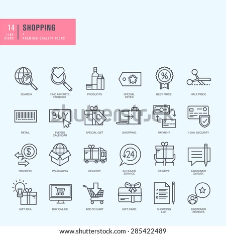 Thin line icons set. Icons for shopping - stock vector
