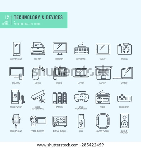 Thin line icons set. Icons for technology, electronic devices.     - stock vector