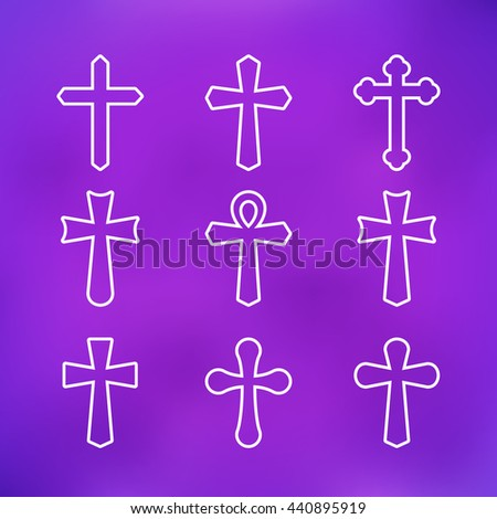 Thin line icons set of crosses. Illustration of crosses. Set of crosses. Crosses isolated on a purple background. Different types of crosses.