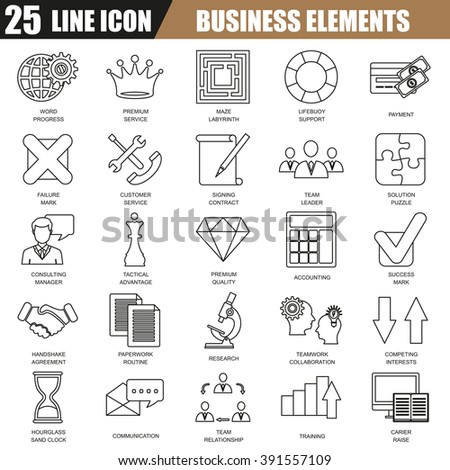 Thin line icons set of doing business elements, solution for clients, business strategy and analytics. Modern flat linear concept pictogram, set outline symbol for graphic and web designers. - stock vector