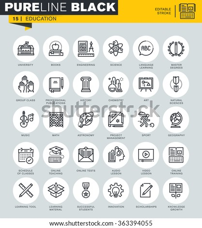 Thin line icons set of education, online training and courses, subject choices. Icons for website and mobile website and apps with editable stroke.  - stock vector