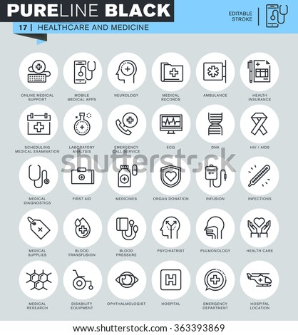 Thin line icons set of healthcare and medicine, hospital services, laboratory analyzes, medical specialists, medical equipment. Icons for website and mobile website and apps with editable stroke.  - stock vector