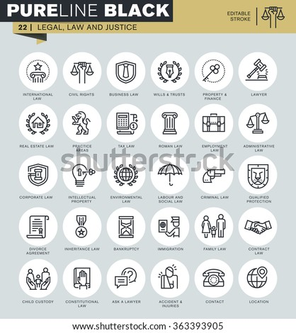 Thin line icons set of legal, law and justice. Icons for website and mobile website and apps with editable stroke.  - stock vector