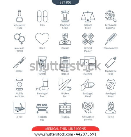 Thin Line Icons Set Of Medical and Health Care. Web Elements Collection