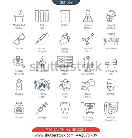 Thin Line Icons Set Of Medical and Health Care. Web Elements Collection - stock vector