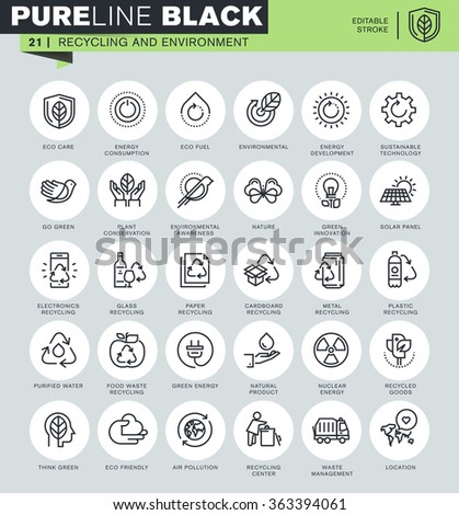 Thin line icons set of recycling, waste management, environmental protection, eco care. Icons for website and mobile website and apps with editable stroke.  - stock vector