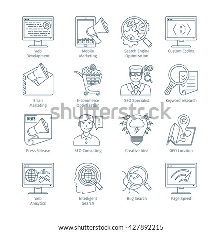Thin Line Icons Set Of Search Engine Optimization. Web Objects And Elements Collection - stock vector