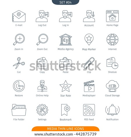 Thin Line Icons Set Of Social Media And Network. Web Elements Collection
