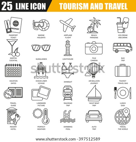 Thin line icons set of tourism recreation, travel vacation to resort hotel. Modern flat linear concept pictogram, set outline symbol for graphic and web designers. - stock vector