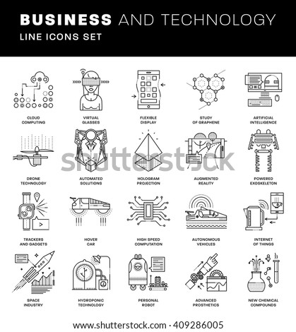 Thin Line Icons Set. Simple Linear Pictogram Collection for Web Design. Stroke Logo Concept Pack. Future Technology, Artificial Intelligent, Augmented Reality and Exoskeleton. Vector Illustration. - stock vector