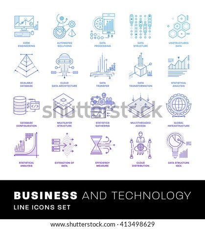 Thin Line Icons Set. Simple Linear Pictogram Collection for Web Design. Stroke Logo Concept Pack. Big Data Structure, Database Architecture, Data Science Technology Concept. Vector Illustration. - stock vector