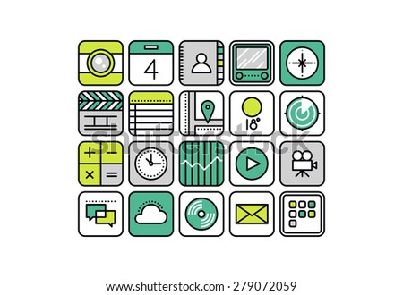 Thin line icons with flat design elements of abstract mobile apps, smartphone application web button for business and common usage. Modern vector illustration concept, isolated on white background. - stock vector