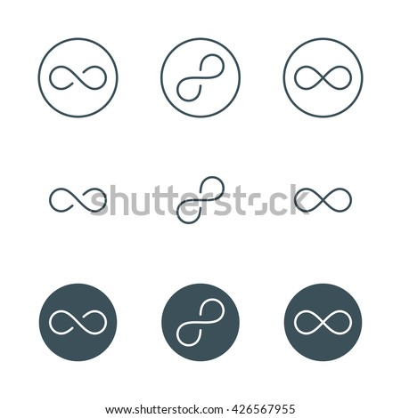thin line infinity symbol or sign. infinity logo concept in modern flat outline style. linear infinity icon. limitless symbol. infinite sign. isolated on white background. vector illustration - stock vector